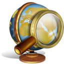 Globe with magnifier